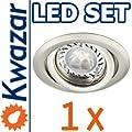 SUPER SET: K-19 Einbaustrahler + POWER LED 3x1W! 35W! + GU10 Fassung 230V von Kwazar Leuchte