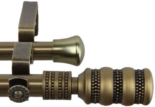 Rod desyne dollop Doppel Gardinenstange, 28von 122cm, Schwarz, messing antik-optik, 66 by 120-Inch Gardinenstange 120-zoll-doppel