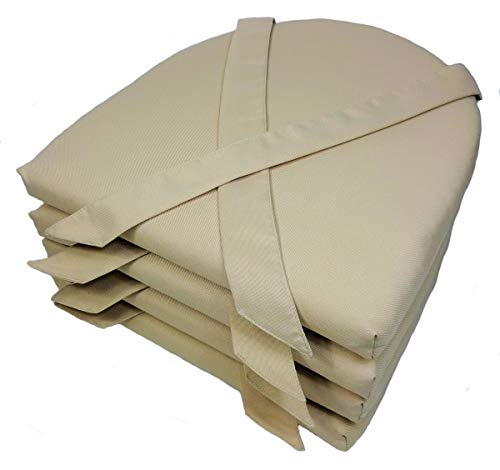 Rattani Set 4 x Stuhlkissen/Sitzkissen Marina halbrund mit Schleife 42 x 45 cm Dicke 5 cm, Fb. beige, Polyester