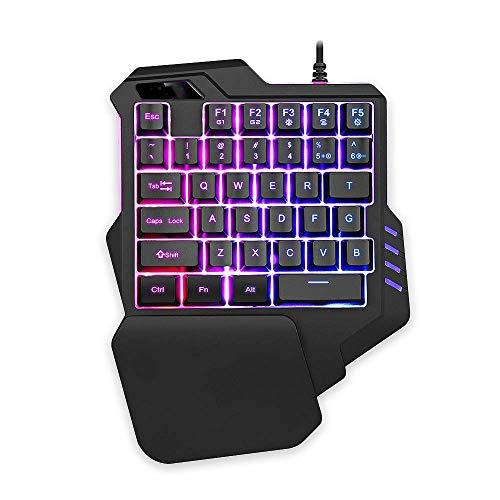Wenquan,tastiera gaming cablata con retroilluminazione rgb tastiera a membrana a 35 tasti(color:nero)