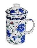 GMMH Teetasse mit Deckel und Sieb Becher aus Porzellan für Losen Tee oder Beutel (Rosenblüten)