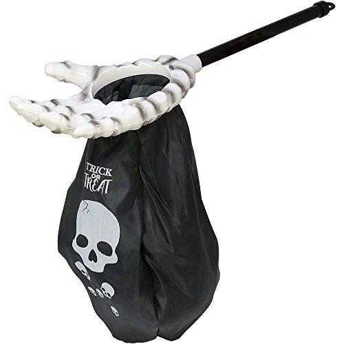 Skelett Hand in weiß mit Beutel in schwarz, Knochen Arm mit Tasche zum Sammeln von Süßigkeiten, 57 x 16 cm (01 Stück - weiß) (Kinder Halloween Brauch)