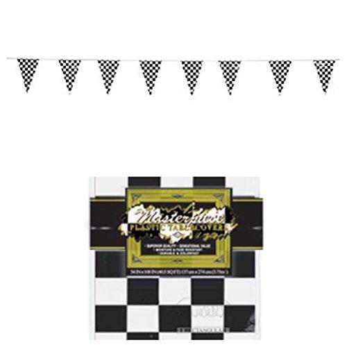 Karierte Flagge–Racing Dekorationen 100'Pennants & Tischdecke 137,2x 274,3cm–Race Auto Party Event Decor Banner Nascar