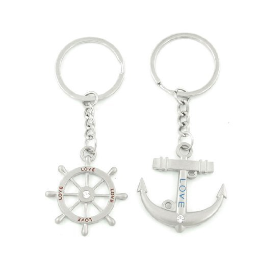 2-pcs-silver-tone-ship-steering-wheel-anchor-penadnt-keychain-keyring