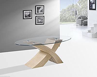 "NEW Designer Oval ""X"" MILANO Wood & Glass Coffee Table Modern Oak Veneer Furniture"