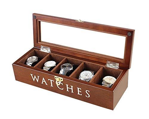 Uhrenbox uhrenkoffer uhrenkasten von kiefer holz mit schloss und glasdeckel 5 gitter 34*12*8cm, brown -