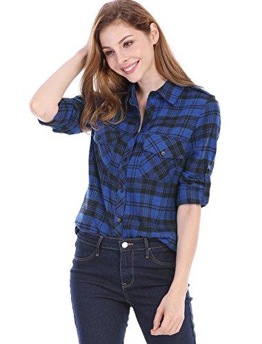 Allegra K Damen Check Rollen Ärmel Klappe Taschen Kariert Shirt Top Blau XL(EU 48) (Rollen Intensive)