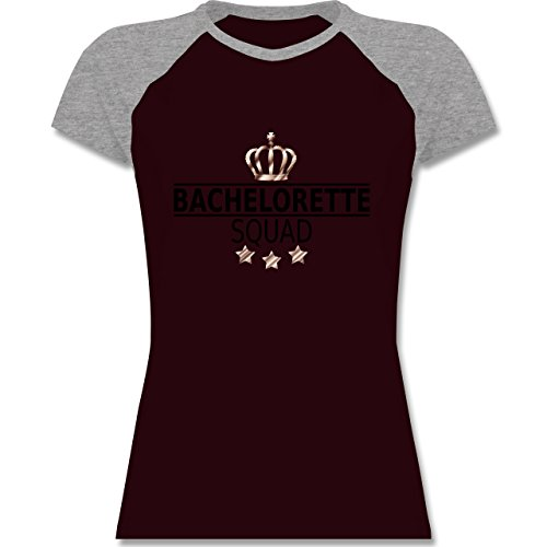 JGA Junggesellinnenabschied - Bachelorette Squad Krone - zweifarbiges Baseballshirt / Raglan T-Shirt für Damen Burgundrot/Grau meliert