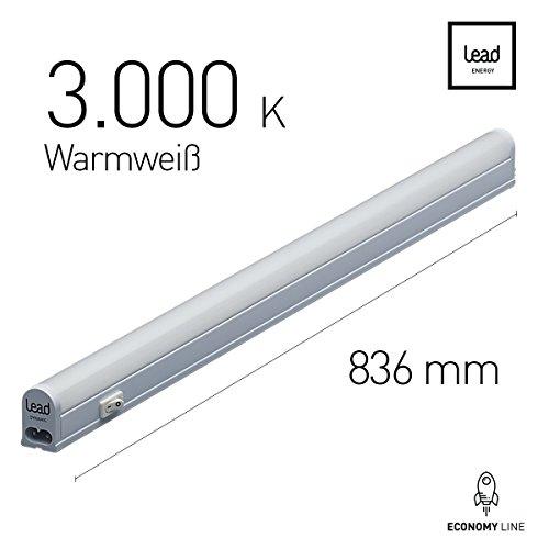 LED Unterbauleuchte |83.6cm | warmweiß | LED Lichtleiste 13W | extrem hell -998 Lumen | bis 12 Meter nahtlos erweiterbar | geeignete Lampe für die Küche, hinter Möbel, im Werkraum | 3 Jahre Garantie | Zertifiziert
