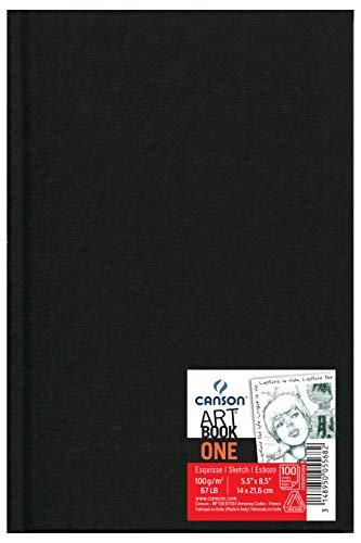 Canson Art Book One - Cuaderno de dibujo, 14 x 21.6 cm, 98 hojas, color negro, 1 unidad