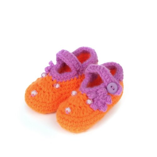 Bigood 0-6 Baby Krabbelschuhe Gestrickte Schuhe flauschige Baby-Unisex Länge 11 cm Schleife Weis Knopf Orange N