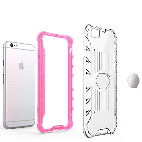 iPhone 6/6S 4.7 Hülle, Voguecase Transparent Schutzhülle / Case / Cover / Hülle / 2 in 1 TPU + PC für magnetischen Auto Mount Gel Skin für Apple iPhone 6/6S 4.7 (Pink)+ Gratis Universal Eingabestift transparent