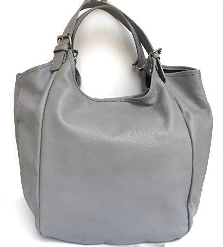 SUPERFLYBAGS Borsa Sacca Shopper In Vera Pelle Morbida modello Costanza Made In Italy grigio