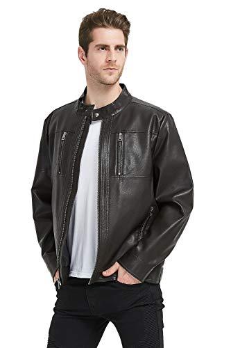 Banded Collar Jacket (PANAPA Herren Jacke aus Lammleder mit Reißverschluss, Moto Kragen - Braun - Klein)