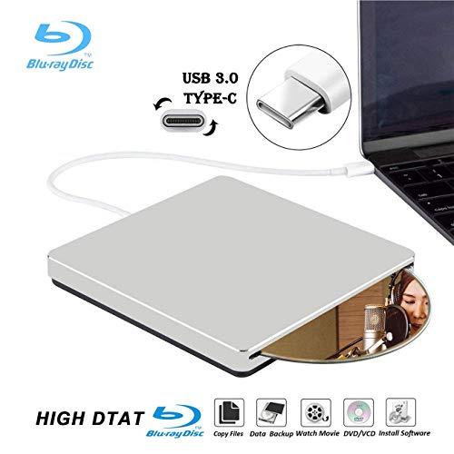 Externe Blu Ray DVD Laufwerk,KuWFi USB3.0 Typ C Portable Slim Automatisches Einlegen von CD / DVD-RAM / BD-ROM-Laufwerken für Windows Mac OS