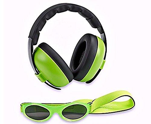 Ohrenschützer mit Gehörschutz und Sonnenbrille für Babys und Kleinkinder (Kombipaket) Limette
