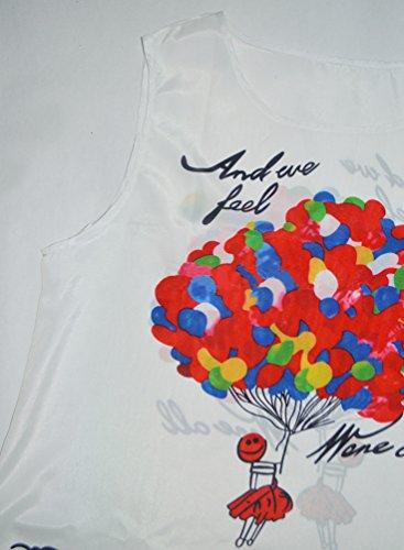 WanYang Damen Frauen Sommer Ärmellos Drucken Kleider Sommer Kleid Strand Kleid Lose Mini Kleider(Weiß etwas transparent) Blütenblatt _022