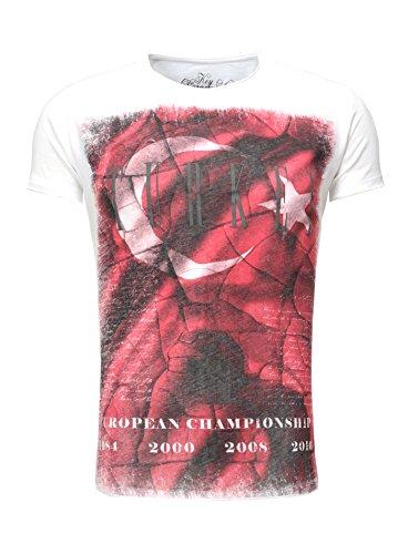 Key Largo Herren T-Shirt TURKEY Vintage Look verwaschen Printshirt Sommershirt Flaggenmotiv Em 2016 Europameisterschaft Slim Fit Schnitt Rundhalsausschnitt Weiß