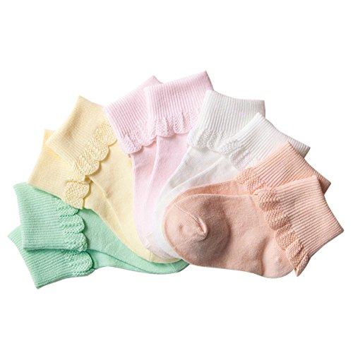 Baywell Baby Mädchen Socken Herbst Rüschen Frilly Socken Pointelle (Pack von 4/5) (0-1Jahre, 5 Packungen) Baby-pointelle
