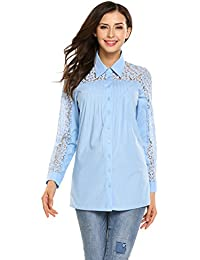 b8d34a11d7da Meaneor Women Long Sleeve Turn Down Collar Button Down Shirts Lace  Patchwork Slim Tops