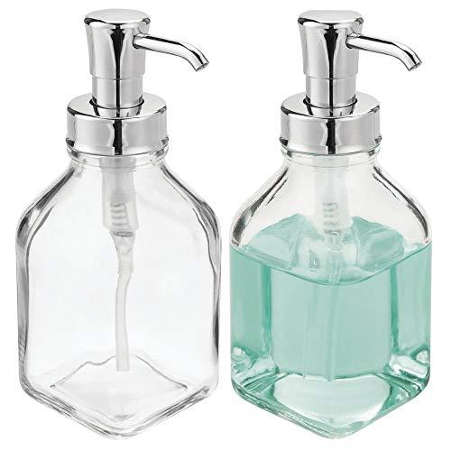 mDesign 2er-Set Seifenspender wiederbefüllbar - eckiger Pumpseifenspender aus Glas und Kunststoff - optimal für Küche oder als Badzubehör mit ca. 562 ml Füllmenge - durchsichtig/silberfarben -