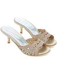 Unbekannt Sandalen Women's Open Toe Mid Heel Flip Flop Strass Hohlen Groß, Silber, 35