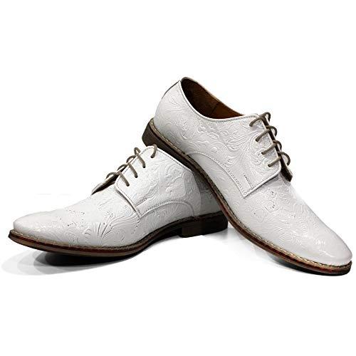 Modello Chalk - 43 - Handgemachtes Italienisch Bunte Herrenschuhe Lederschuhe Herren Weiß Oxfords Abendschuhe Schnürhalbschuhe - Rindsleder Geprägtes Leder - Schnüren -