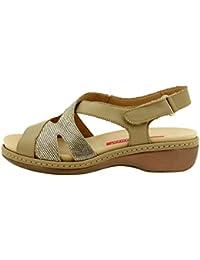 Calzado mujer confort de piel Piesanto 8813 sandalia velcro plantilla extraíble cómodo ancho