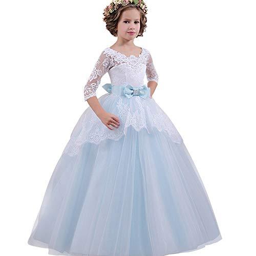 Riou Weihnachtskleid Mädchen Prinzessin Spitzenkleid Lang Weihnachten Kinder Baby Leistung Formal Tutu Mini Ballkleider Abendkleid Elegant für Hochzeit Party Outfits Kleidung (130, Blau)