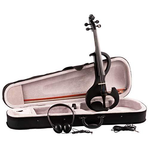 Artall 4/4 4/4 Violine mit Hartschalenkoffer, Bogen, Kolophonium und Kinnhalter, Kopfhörer, Audiokabel und Brücke, Schwarz (4 4 Violine Brücke)