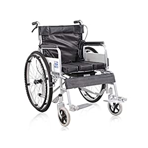 41RxQqsG2dL. SS300  - GJX Foldable Toilet Wheelchair, Elderly Steel Pipe Spray Wheeled Wheelchair, Disabled Wheelchair Seat Wheelchair