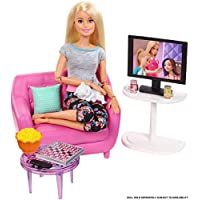 Barbie - Muebles de interior, accesorios para el salón de la casa de muñecas (Mattel FXG36)