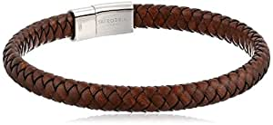 Tateossian Cobra Bracelet with Brown Colour Italian Leather and Sterling Silver Clasp of Length 18cm