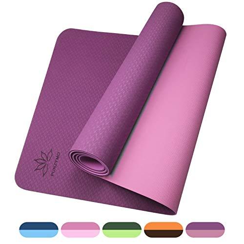 PUNZYMO Gymnastikmatte, Yogamatte gepolstert & rutschfest für Fitness Pilates & Gymnastik mit Gurt aus TPE, 183 * 61 * 0.6cm