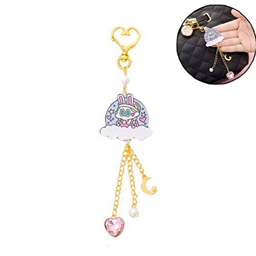 Cute Girl Clouds Wings Moon Heart Bag Hanging Ornaments Cartoon Account Decoration Pendant Fine Chain Decoration for Female
