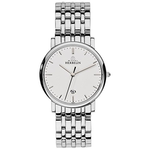 Michel Herbelin Unisex Erwachsene Analog Uhr mit Edelstahl Armband 12543/B11