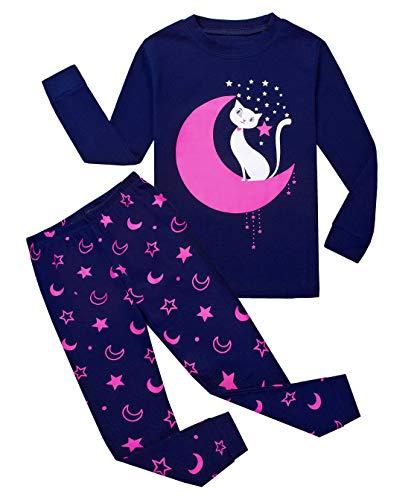 Baumwolle Pyjama-böden (Tkiames Mädchen Pyjama Giraffe Langarm Baumwolle Schlafanzug Set Nachtwäsche Nachtwäsche Gr. 3-4 Jahre, Moon Cat)