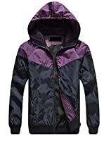 Fulok Mens Splice Color Hooded Thin Zip Slim Casual Jacket M Purple