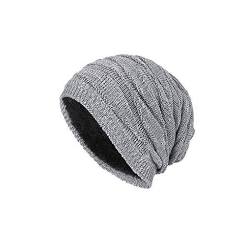(Nosterappou Herbst und Winter Unisex-Typ Hut, Winter dicken und bequemen Hut, Winddicht, Soft-Touch, hohe Stretch-Strickmütze, (Farbe : Gray))