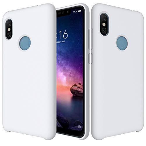 Funda Xiaomi Redmi Note 6 Pro Funda Líquido Silicona Suave Flexible Antigolpes Caso Redmi Note 6 Pro Funda Silicona Cubierta Gel TPU Tapa Shock-Absorción Premium Protector Case Cover Blanca