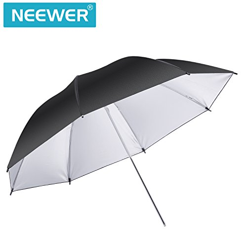 Neewer Riflettore Fotografico Ombrello Illuminazione Nero/Sliver - Diffusore Luminoso e Modificatore per Flash Monoluce per Ripresa di Photo Studio(45 pollici/114.3 Centimetri di Diametro)