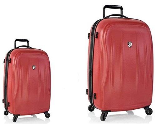 Sets de Bagages, valises - Première Classe Valise Rigide Set 2 pièces - Heys Crown Superlite Rouge Bagages à Main + Trolley avec 4 Roues Grand