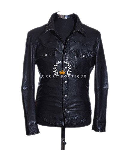 Nathan Black Men's Classic Smart Casual Real Sheep Leather Fitted Shirt Jacket