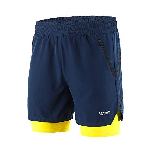 Arsuxeo Herren 2 in 1 Active Running Shorts mit 2 Reißverschlusstaschen B191 - Blau - Mittel