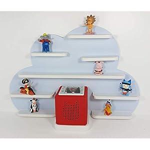 Tonie Board, Wolke in blau mit weißen Regalen, ideale Aufbewahrung für Tonie Box und Tonie Figuren, Kinderzimmer Regal, Deko Board, Musikboxaufbewahrung, Hängeregal