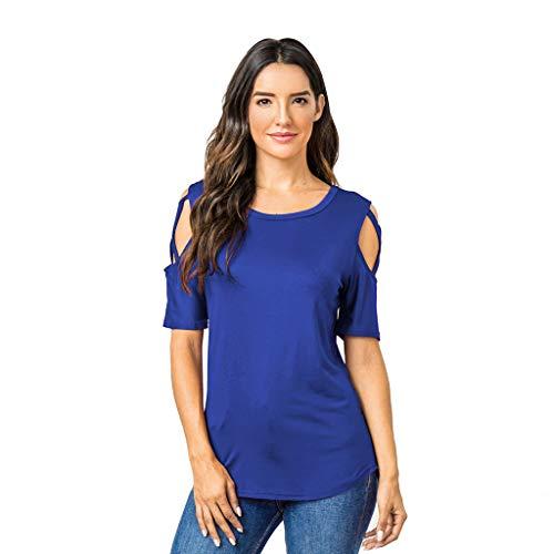 IHEHUA Tunika Damen Sommer T-Shirt Kriss Kross Schulterfrei Rundhals Einfarbig Blusen Lässige Trägerbluse Oberteil Lose Tight Wild Tops Street Sweatshirt(Blau,XL)
