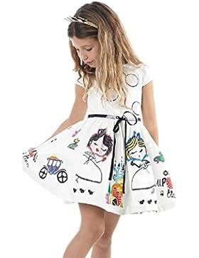 Covermason Niñas Linda Dibujos Animados Impresión Blanco Mini Vestidos y Cinturón (2PCS)