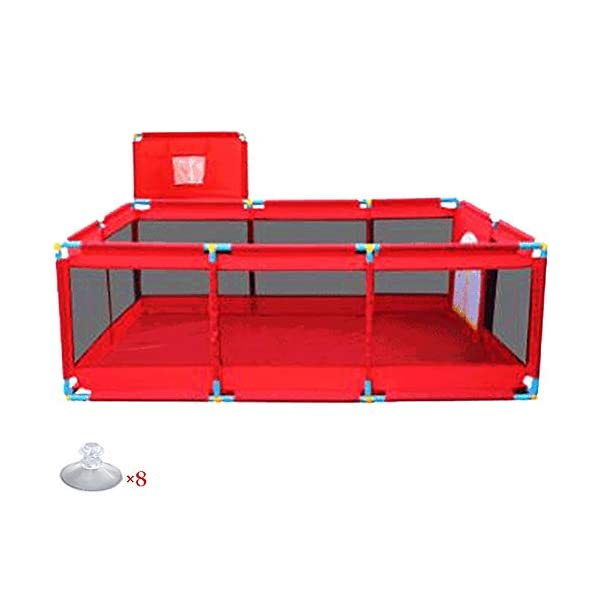 Playpens Extra Large Baby Play Yard with Basketball Hoop, Toddler/Kid's Portable Playard Children's Game Fence, Red Playpens  1