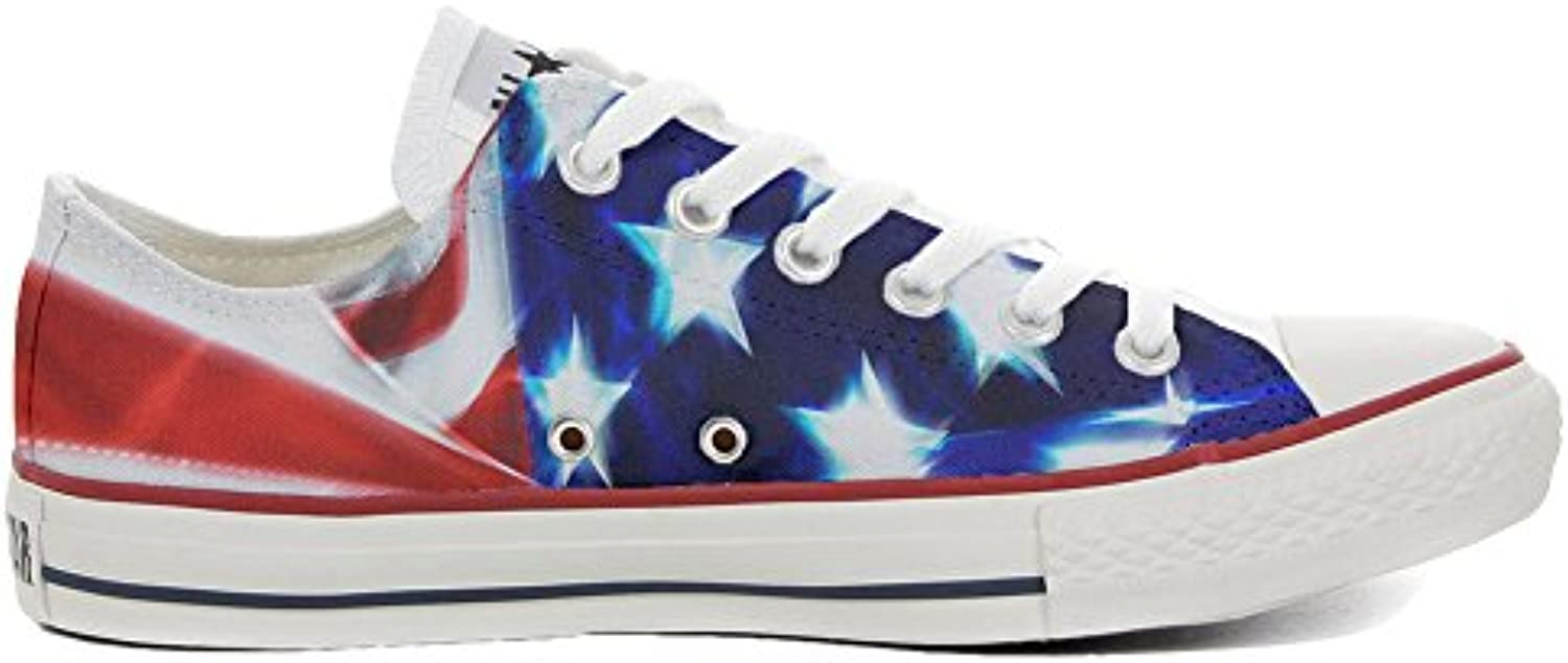 Converse All Star Zapatos Personalizados Unisex (Producto Handmade) Tigre Blanco with Green Eyes -