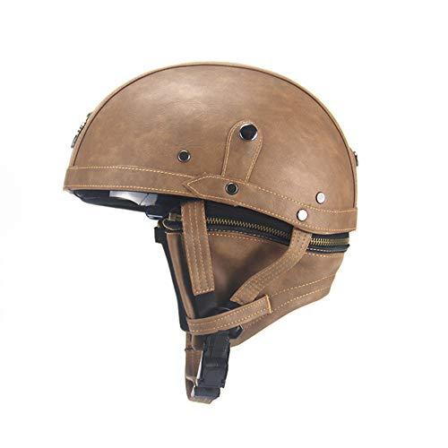 Wooya pu in pelle vintage dimensioni motociclo mezzo casco con visiera parasole staccabile per harley-marrone chiaro